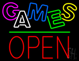 Games Block Open Green Line Neon Sign