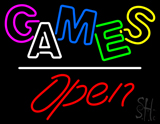 Games Open White Line Neon Sign