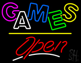 Games Open Yellow Line Neon Sign
