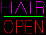 Hair Block Open Green Line Neon Sign