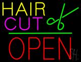 Hair Cut Logo Block Open Green Line Neon Sign
