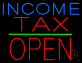 Income Tax Block Open Green Line Neon Sign