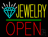 Jewelry Logo Open Green Line Neon Sign