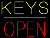 Keys Block Open Green Line Neon Sign