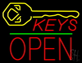 Keys Logo Block Open Green Line Neon Sign