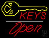 Keys Logo Open White Line Neon Sign