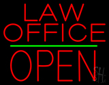 Law Office Block Open Green Line Neon Sign