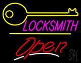 Locksmith Logo Script2 Open Yellow Line Neon Sign
