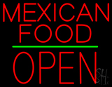 Mexican Food Block Open Green Line Neon Sign