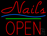 Nails Block Open Green Line Neon Sign