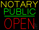 Notary Public Block Open Green Line Neon Sign