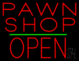 Pawn Shop Block Open Green Line Neon Sign