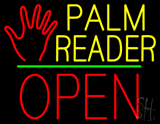Palm Reader Logo Block Open Green Line Neon Sign