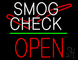 Smog Check Logo Open Block Green Line Neon Sign