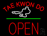 Tae Kwon Do Logo Block Open Green Line Neon Sign