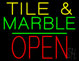 Tile and Marble Block Open Green Line Neon Sign