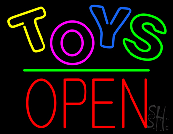 Toys Block Open Green Line Neon Sign