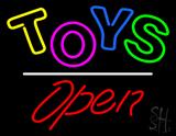 Toys Open White Line Neon Sign