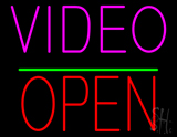 Video Open Block Green Line Neon Sign