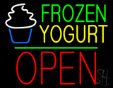 Frozen Yogurt Block Open Green Line Neon Sign