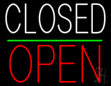 Closed Block Open Green Line Neon Sign
