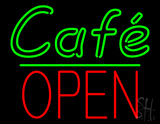 Cafe Block Open Green Line Neon Sign