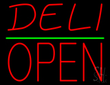 Deli Block Open Green Line Neon Sign