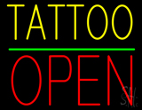 Yellow Tattoo Block Open Green Line Neon Sign