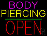 Body Piercing Block Open Green Line LED Neon Sign