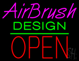 Airbrush Design Block Open Green Line Neon Sign