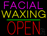 Facial Waxing Block Open Green Line Neon Sign