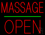 Red Massage Block Open Neon Sign