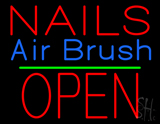 Nails Airbrush Block Open Green Line Neon Sign
