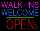 Walk-ins Welcome Block Open Green Line Neon Sign