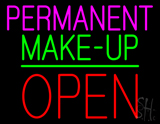 Permanent Make-up Block Open Green Line Neon Sign