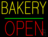 Bakery Block Open Green Line Neon Sign