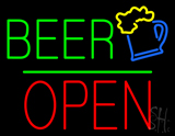 Beer Logo Block Open Green Line Neon Sign