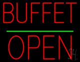 Buffet Block Open Green Line Neon Sign