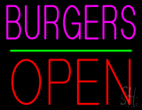 Burgers Block Open Green Line Neon Sign