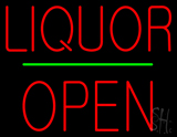 Liquor Block Open Green Line Neon Sign