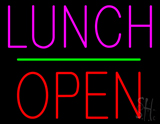 Lunch Block Open Green Line Neon Sign