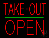 Take-Out Block Open Green Line Neon Sign