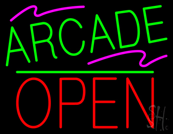 Arcade Block Open Green Line Neon Sign