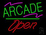 Arcade Open White Line Neon Sign