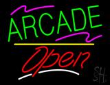Arcade Open Yellow Line Neon Sign