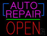 Auto Repair Open Block Green Line Neon Sign