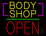 Body Shop Open Block Green Line Neon Sign