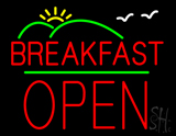 Breakfast Logo Block Open Green Line Neon Sign