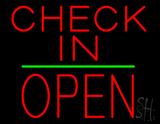 Check In Block Open Green Line Neon Sign