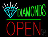 Diamonds Logo Block Open Green Line Neon Sign